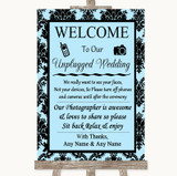 Sky Blue Damask No Phone Camera Unplugged Customised Wedding Sign