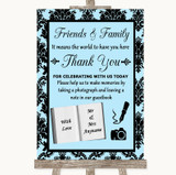 Sky Blue Damask Photo Guestbook Friends & Family Customised Wedding Sign
