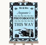 Sky Blue Damask Photobooth This Way Left Customised Wedding Sign