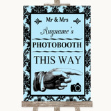 Sky Blue Damask Photobooth This Way Right Customised Wedding Sign