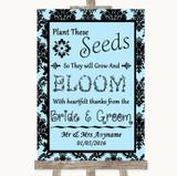 Sky Blue Damask Plant Seeds Favours Customised Wedding Sign