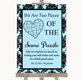 Sky Blue Damask Puzzle Piece Guest Book Customised Wedding Sign
