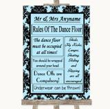 Sky Blue Damask Rules Of The Dancefloor Customised Wedding Sign