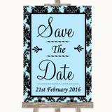 Sky Blue Damask Save The Date Customised Wedding Sign