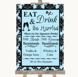 Sky Blue Damask Signature Favourite Drinks Customised Wedding Sign