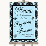 Sky Blue Damask Signing Frame Guestbook Customised Wedding Sign