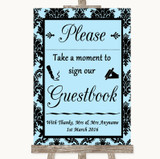 Sky Blue Damask Take A Moment To Sign Our Guest Book Customised Wedding Sign