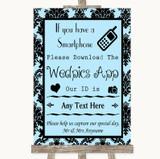 Sky Blue Damask Wedpics App Photos Customised Wedding Sign