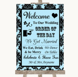 Sky Blue Damask Welcome Order Of The Day Customised Wedding Sign