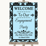 Sky Blue Damask Welcome To Our Engagement Party Customised Wedding Sign