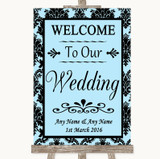 Sky Blue Damask Welcome To Our Wedding Customised Wedding Sign