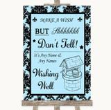 Sky Blue Damask Wishing Well Message Customised Wedding Sign