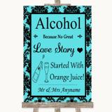 Tiffany Blue Damask Alcohol Bar Love Story Customised Wedding Sign