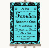Tiffany Blue Damask As Families Become One Seating Plan Wedding Sign