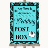 Tiffany Blue Damask Card Post Box Customised Wedding Sign