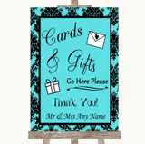Tiffany Blue Damask Cards & Gifts Table Customised Wedding Sign