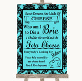 Tiffany Blue Damask Cheese Board Song Customised Wedding Sign