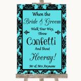 Tiffany Blue Damask Confetti Customised Wedding Sign