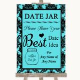 Tiffany Blue Damask Date Jar Guestbook Customised Wedding Sign