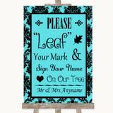 Tiffany Blue Damask Fingerprint Tree Instructions Customised Wedding Sign
