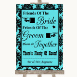 Tiffany Blue Damask Friends Of The Bride Groom Seating Customised Wedding Sign