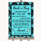 Tiffany Blue Damask Grab A Bag Candy Buffet Cart Sweets Wedding Sign