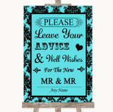 Tiffany Blue Damask Guestbook Advice & Wishes Gay Customised Wedding Sign