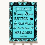 Tiffany Blue Damask Guestbook Advice & Wishes Lesbian Customised Wedding Sign