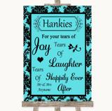 Tiffany Blue Damask Hankies And Tissues Customised Wedding Sign