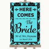 Tiffany Blue Damask Here Comes Bride Aisle Sign Customised Wedding Sign