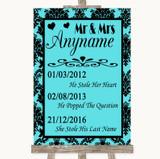 Tiffany Blue Damask Important Special Dates Customised Wedding Sign