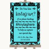 Tiffany Blue Damask Instagram Photo Sharing Customised Wedding Sign