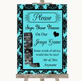 Tiffany Blue Damask Jenga Guest Book Customised Wedding Sign