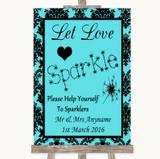 Tiffany Blue Damask Let Love Sparkle Sparkler Send Off Customised Wedding Sign
