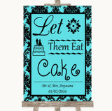 Tiffany Blue Damask Let Them Eat Cake Customised Wedding Sign