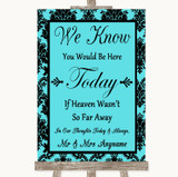 Tiffany Blue Damask Loved Ones In Heaven Customised Wedding Sign