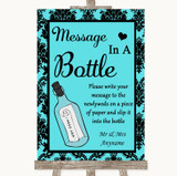 Tiffany Blue Damask Message In A Bottle Customised Wedding Sign
