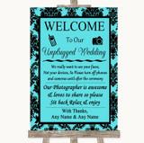 Tiffany Blue Damask No Phone Camera Unplugged Customised Wedding Sign
