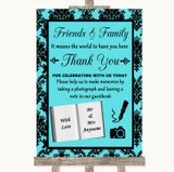 Tiffany Blue Damask Photo Guestbook Friends & Family Customised Wedding Sign