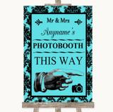 Tiffany Blue Damask Photobooth This Way Right Customised Wedding Sign
