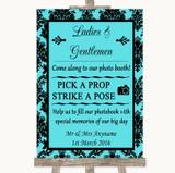 Tiffany Blue Damask Pick A Prop Photobooth Customised Wedding Sign