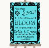 Tiffany Blue Damask Plant Seeds Favours Customised Wedding Sign