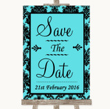 Tiffany Blue Damask Save The Date Customised Wedding Sign