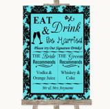 Tiffany Blue Damask Signature Favourite Drinks Customised Wedding Sign