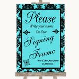 Tiffany Blue Damask Signing Frame Guestbook Customised Wedding Sign