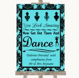 Tiffany Blue Damask Toiletries Comfort Basket Customised Wedding Sign