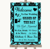 Tiffany Blue Damask Welcome Order Of The Day Customised Wedding Sign