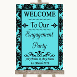 Tiffany Blue Damask Welcome To Our Engagement Party Customised Wedding Sign