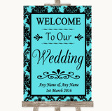 Tiffany Blue Damask Welcome To Our Wedding Customised Wedding Sign