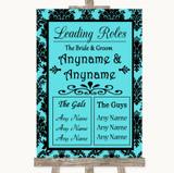 Tiffany Blue Damask Who's Who Leading Roles Customised Wedding Sign